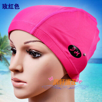 Lycra pink adult men and women children's swimming cap