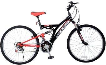 "MARSSTAR 26"" 18 Speed Mountain Bike 2618 Ruby (Black & Red) with Hybrid Suspension Alloy Rims"