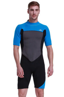Men 2mm Neoprene Wetsuit Warm Short Sleeve Snorkeling Scuba DivingSuit Swimwear Surf Rashguard Swimsuit (Blue)