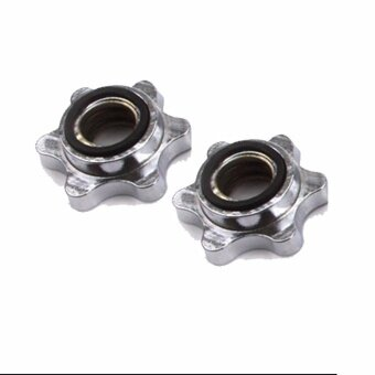 pair of 2 dumbell barbell dumbbell nuts collar star shape spinlock