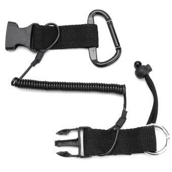 Safe Nylon Lanyard Coil Lanyard with Clips Buckle for Scuba Diving Camera(Black)