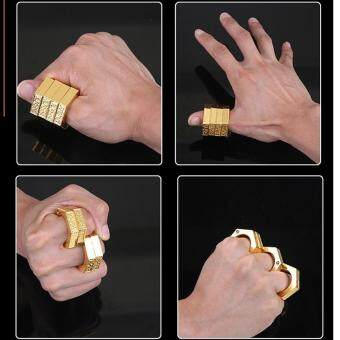 SellinCost 3D Full Steel Movable Self Defence Kung Fu SolidPunching Ring Rings Hexagon Gold