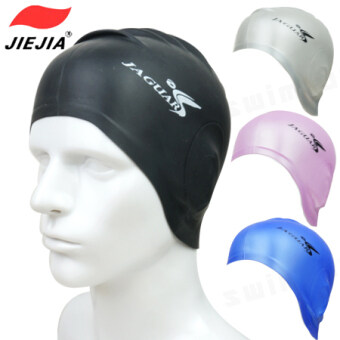 Swimming cap fashion swimming cap children's men and women withlong hair waterproof silicone swimming cap fashion large ear adultbubble Hot Spring