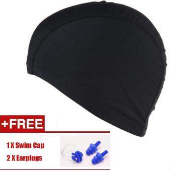Swimming Cap, New Flexible Durable PU Diving Hat Swimming EquipmentHats Water-Proof Swim Caps Protective Ear Caps Adult Man and WomenUnisex Swimming Cap Extra Large Long Hair Swimming Cap Swimming HatFree + Nose Clip + Earplugs