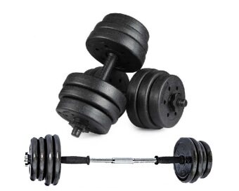Top Grade Bumper Plate Rubber Dumbbell 25kg /Pair with 10cm barbell converter