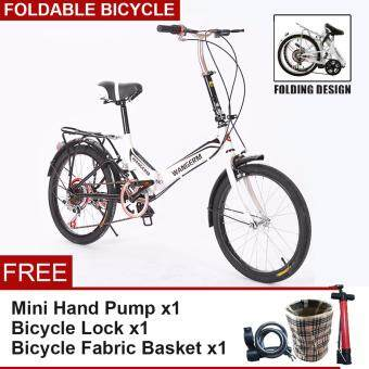 WANGERM [NP228] Foldable Compact Bicycle 20 Inch Wheels 6 Gears Portable City Sport Bike Folding Bikes