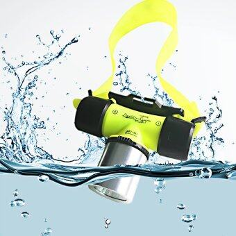 Waterproof XML T6 2000 Lumen Underwater 20m LED Diving Flashlight18650 Headlamp Headlight Dive Head Light Torch Lamp Bicycle CyclingLights Yellow