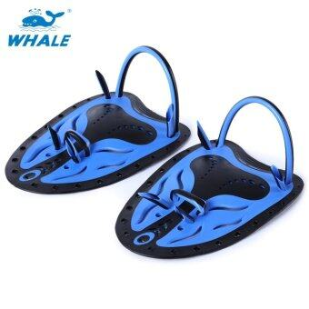 Whale Paired Unisex Swimming Adjustable Paddles Fins Webbed Training Pool Diving Neoprene Hand Gloves(Blue L)