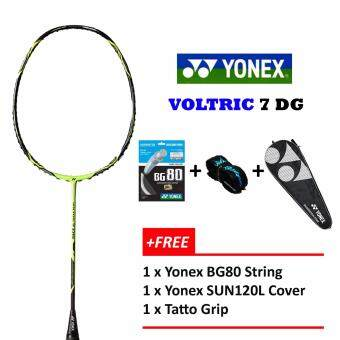 Yonex (1PCS) Voltric 7 DG Black Lime + Free BG80 + Grip + Cover (Unstrung) Badminton Racket Package