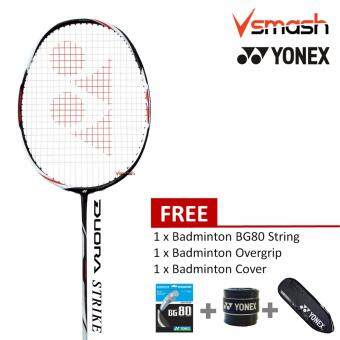 Yonex Duora Strike (3U) Black White Badminton Racket Package