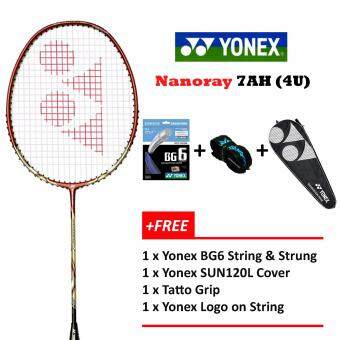 Yonex Voltric Nanoray 7AH (4U)Red+FOC BG6 StInging@26lbs Prestrung+YYLogo Badminton Racket Package