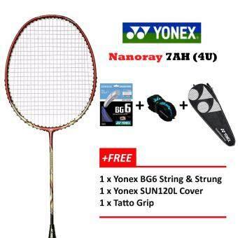 Yonex Voltric Nanoray 7AH (4U)Red+Free Strung @26lbs PrestrungBadminton Racket Package