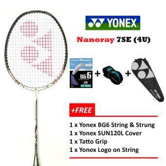 Yonex Voltric Nanoray 7SE (4U) White+Free Strung @26lbsPrestrung+YY LOGO Badminton Racket Package