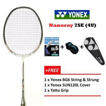 Yonex Voltric Nanoray 7SE (4UG5) White+Free BG6 StrInging @26lbs Prestrung Badminton Racket Package