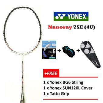 Yonex Voltric Nanoray 7SE (4UG5) White+Free BG6+Grip+Cover Unstrung Badminton Racket Package