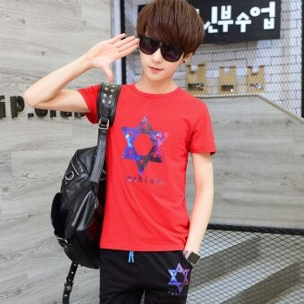 12 Korean-style cotton Teenager short sleeved t-shirt shirt (Run men's red)