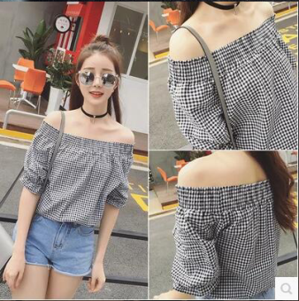 2017 collar strapless short shirt female summer korean version of the new sexy short sleeve plaid shirt female wawa shan