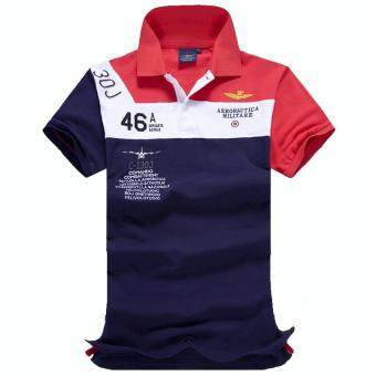 2017 Fashion Mens Polo Shirt Summer Breathable Tops Men Polo Airforce Fitness Male Tee Brand Clothing Casual Cotton (Red)