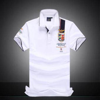 2017 Fashion Mens Polo Shirt Summer Breathable Tops Men Polo Airforce Fitness Male Tee Brand Clothing Casual Cotton (White)