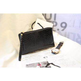 2017 Korea style phone bag Fashion Alligator Pattern Leather cluth bag(Black)