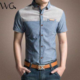 2017 New Fashion Casual Men Formal Shirt Short Sleeve PatchworkSlim Fit Shirt Men High Quality Cotton Mens Dress Shirts MenClothes (Blue)