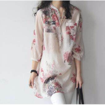 2017 New Femininas Women Fashion V Neck Button Linen Shirts PlusSize Blouses Casual Vintage Floral Printed Long Tops(Red)