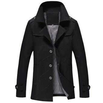2017 New style spring outerwear young casual long section thinsection jacket on the clothes Spring and Autumn men's jacket men's(Black)