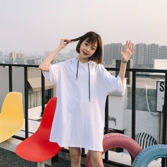 2017 spring and summer women new korean version of the long sectionof LOOSE SLEEVE hooded t-shirt short SLEEVE dress student skirtt-shirt (White)