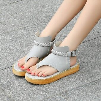 2017 summer New style fashion sandals clip toe shoes sandals flat sandals flip sandals Korean-style student shoes tide (Gray)