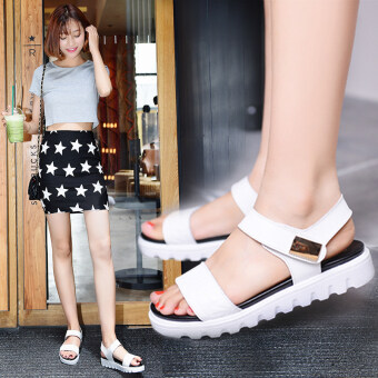 2017 summer New style Korean-style Ms. non-slip flat with flat softbottom simple student wild sandals women casual shoes (Black)