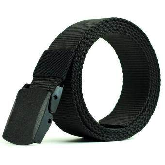 4ever Automatic Buckle Nylon Belt Male Army Tactical Belt MenMilitary Waist Canvas Belts Strap Gift(Color: Black, Size: 110cm,120cm, 130cm,140cm)