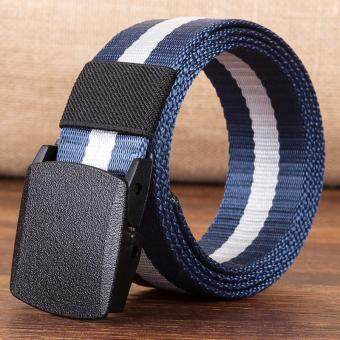 4ever Automatic Buckle Nylon Belt Male Army Tactical Belt MenMilitary Waist Canvas Belts Strap Gift(Color: Blue, Size: 110cm,120cm, 130cm,140cm)