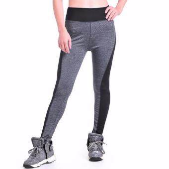AB Quick Drying Fitness Trousers Outdoor Running Sports Pants HighElasticity Gym Leggings (Grey) - M