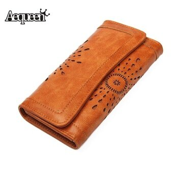AEQUEEN Women's Hollow Out Clutch Long Wallet Money Coin Credit Card Phone Holder Female PU Leather Lady Hand Purse Brown