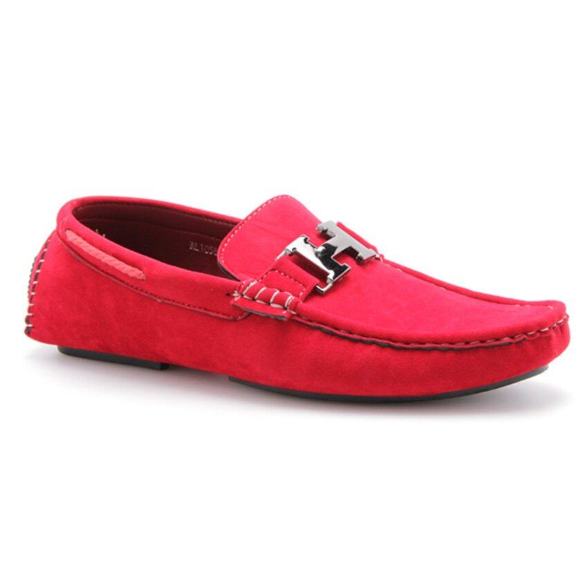 Albertini Buckle Loafers Shoes Red | Lazada Malaysia