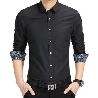 Amart Men Shirt Long Sleeve Shirt Cotton Tops Shirt(Black)