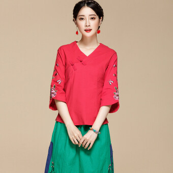 Aomasiting national style summer slimming embroidered Top cotton linen shirt (Red) (Red)