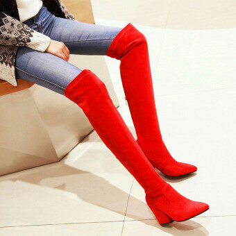 Autumn and Winter over-the-knee boots (Single Layer + Red)