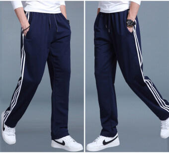 Autumn and Winter Plus-sized straight extra-large sweatpants athletic pants (Dark blue color white strip K50)