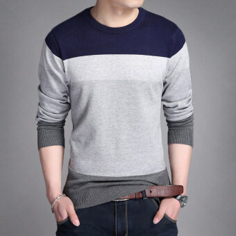 Autumn New style men's long-sleeved t-shirt (Dark blue color)