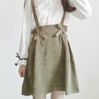 Autumn Women's Korean-style small fresh girls long-sleeved shirt loose doll collar student shirt + sling skirts (Shoulder strap dress one-piece)