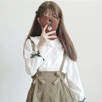 Autumn Women's Korean-style small fresh girls long-sleeved shirt loose doll collar student shirt + sling skirts (White shirt one-piece)