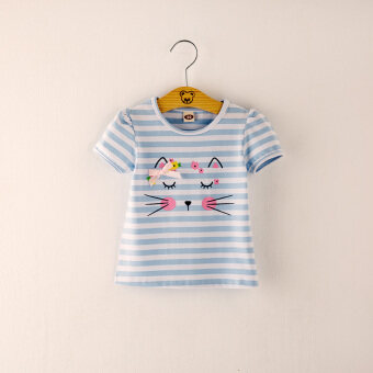 Baby girls New style summer striped Top (Sky blue color) (Sky blue color)