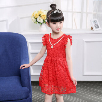 Baby sweet girls lace short sleeved A-line dress children's dress (Red sleeveless) (Red sleeveless)