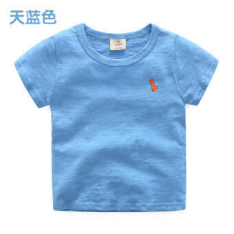 Baby tx-6958 Korean-style New style children's round neck Top solid color short sleeved t-shirt (Sky blue color) (Sky blue color)