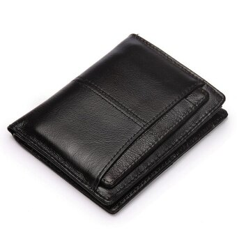 Black Soft Leather Wallet Men Short Wallets Male Card Holders MensBusiness Purse Cowhide Clutch Coin Purse Good Capacity Strap DecentWallets
