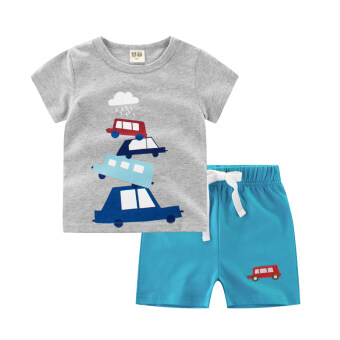 Boys children's suit summer short-sleeved children's clothing two-piece T-shirt (T9715 flower gray/sky blue) (T9715 flower gray/sky blue)