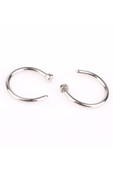 Buytra 2 Piece Stainless Steel Nose Open Hoop Ring Earring StudsSilver