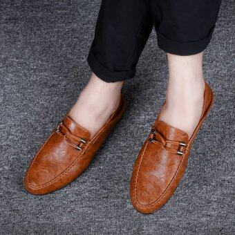 BYL-S moccasins leather casual shoes formal sneakers kasut (Ginger)
