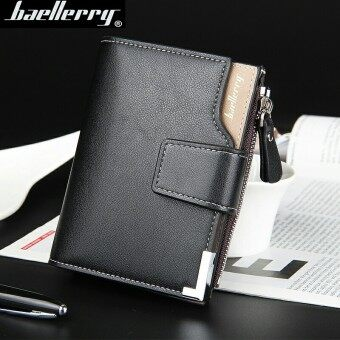 BYT Baellery Big Capacity Men Wallet Leather Vertical Leather Credit Card Holder With Zipper-129-2 (Black)